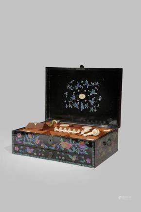 λ A RARE CHINESE LACQUE BURGAUTÉ RECTANGULAR SEWING BOX