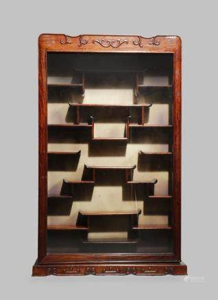 A HARDWOOD SNUFF BOTTLE DISPLAY CABINET