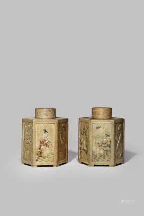 A PAIR OF CHINESE HEXAGONAL-SECTION SOAPSTONE TEA CANISTERS AND COVERS