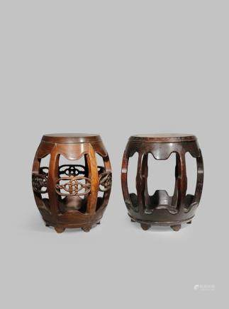 TWO CHINESE BARREL-SHAPED HARDWOOD STOOLS
