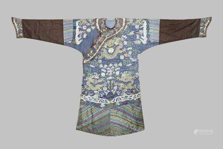 A CHINESE BLUE SILK DRAGON ROBE, JIFU