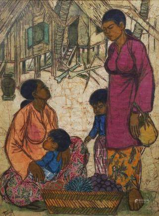 CHUAH THEAN TENG (1914-2008), 'AT THE FRUIT STALL'