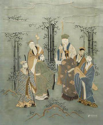 A CHINESE EMBROIDERY ON SILK OF SCHOLARS IN A BAMBOO GROVE