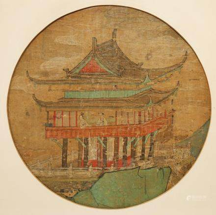 A CHINESE PAINTING ON SILK OF A PAVILION