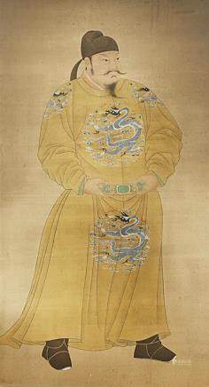 A CHINESE PORTRAIT ON SILK OF THE TANG TAIZONG EMPEROR