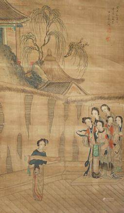 A CHINESE SCROLL PAINTING ON SILK ATTRIBUTED TO GAI QI