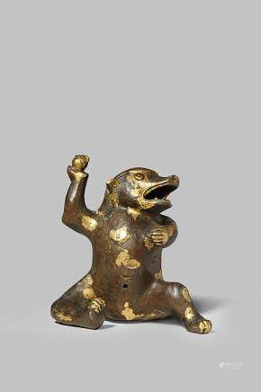 A CHINESE GOLD-SPLASHED BRONZE MODEL OF A BEAR
