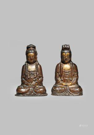 TWO CHINESE LACQUERED AND GILT BRONZE FIGURES OF GUANYIN