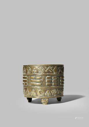 A CHINESE CYLINDRICAL BRONZE INCENSE BURNER BY HU WEN MING