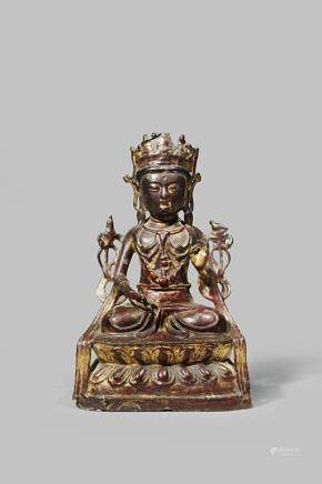 A CHINESE GILT AND LACQUERED BRONZE MODEL OF A TARA