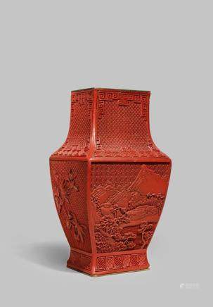 A CHINESE CINNABAR LACQUER RECTANGULAR-SECTION VASE