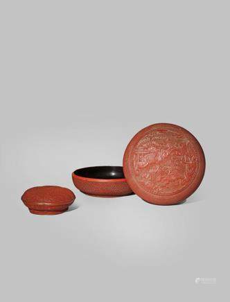 TWO CHINESE CINNABAR LACQUER BOXES AND COVERS