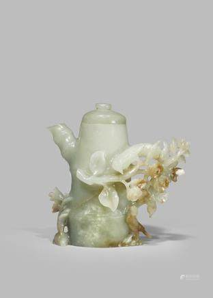 A CHINESE PALE CELADON JADE EWER AND COVER