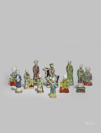 ELEVEN CHINESE PORCELAIN FIGURES