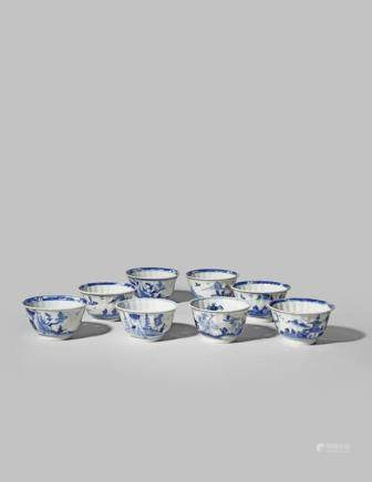 EIGHT CHINESE BLUE AND WHITE TEA BOWLS