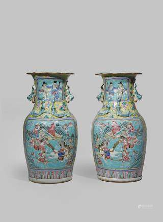 A PAIR OF CHINESE CANTON FAMILLE ROSE VASES