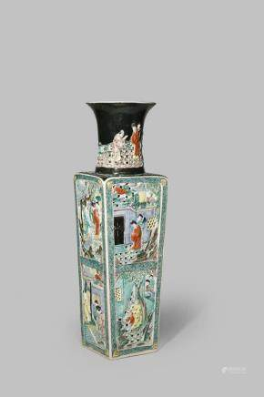A LARGE CHINESE FAMILLE NOIRE RETICULATED VASE