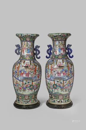 A PAIR OF LARGE CHINESE CANTON FAMILLE ROSE CELADON GROUND VASES