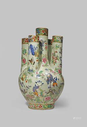A CHINESE FAMILLE ROSE FIVE-NECKED VASE