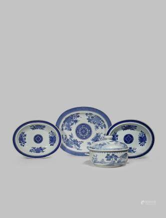 A CHINESE TUREEN AND COVER AND THREE FITZHUGH PATTERN DISHES