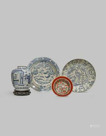 TWO LARGE CHINESE 'SWATOW' DISHES, A BOWL AND A BLUE AND WHITE VASE