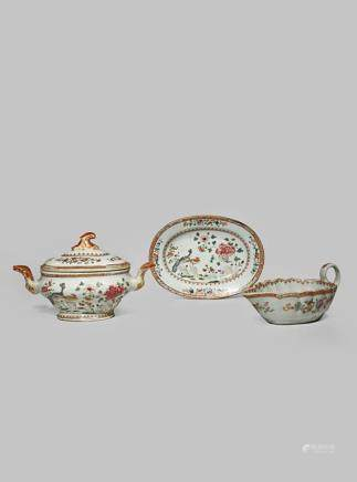 A CHINESE FAMILLE ROSE SAUCE TUREEN, COVER AND STAND