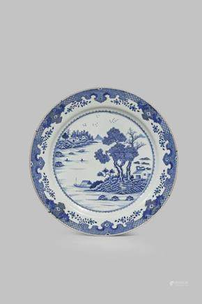 A LARGE CHINESE BLUE AND WHITE DISH