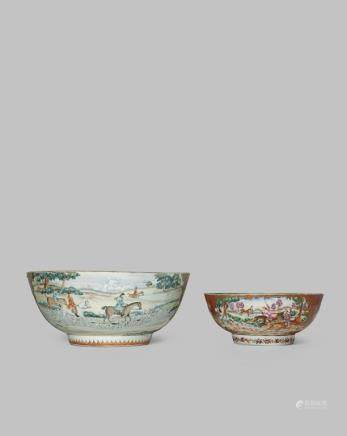 TWO CHINESE FAMILLE ROSE 'HUNTING' BOWLS