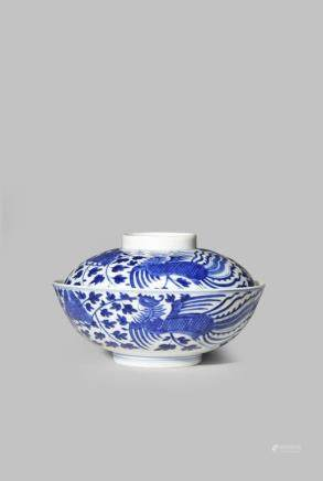 A CHINESE BLUE AND WHITE 'PHOENIX' BOWL AND COVER