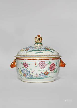 A CHINESE FAMILLE ROSE TUREEN AND COVER