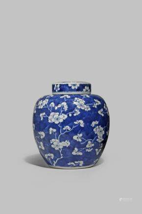 A CHINESE BLUE AND WHITE 'PRUNUS' JAR
