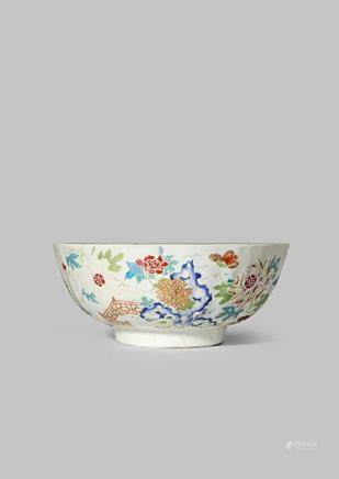 A CHINESE FAMILLE ROSE MOULDED BOWL