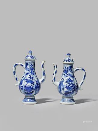 TWO CHINESE SMALL BLUE AND WHITE EWERS