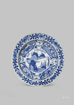 A CHINESE BLUE AND WHITE 'KRAAK' PORCELAIN 'KLAPMUTS' BOWL