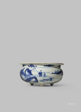A CHINESE BLUE AND WHITE INCENSE BURNER