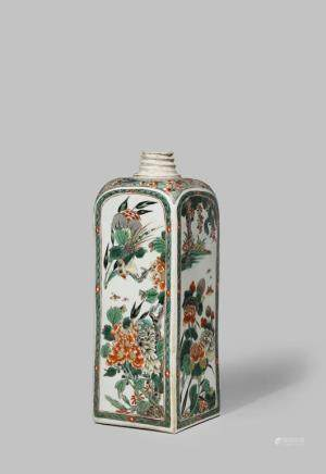 A CHINESE FAMILLE VERTE SQUARE-SECTION FLASK