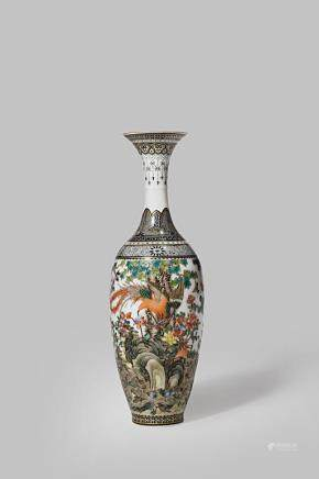 A SMALL CHINESE FAMILLE ROSE 'HUNDRED BIRDS' VASE BY ZHANG SHI BAO (1909-1987)