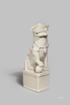 A LARGE CHINESE BLANC DE CHINE BUDDHIST LION DOG