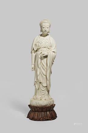 A LARGE CHINESE BLANC DE CHINE FIGURE OF BUDDHA