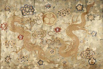 A LARGE JAPANESE EMBROIDERED PANEL