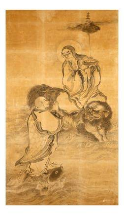 ANONYMOUS Buddhist scenes ink on paper,