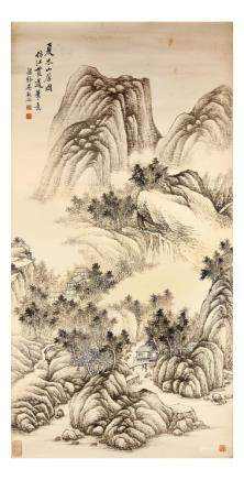"WU GUANDAI   (1862 €"" 1929) Mountain Retreat ink on paper,"