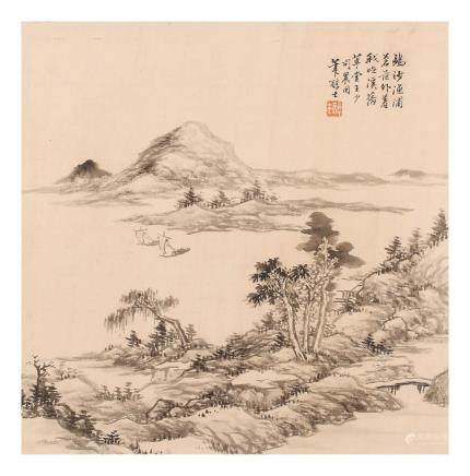 "DAI XI   (1801 €"" 1860) Mountainous Scenes ink on paper,"