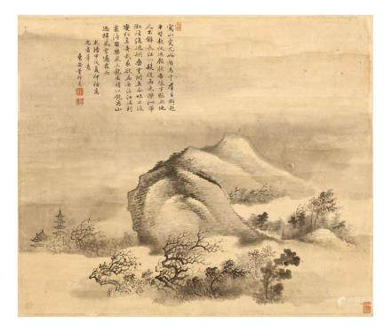 "DONG BANGDA   (1699 €"" 1769) Mountain Landscape ink on paper,"