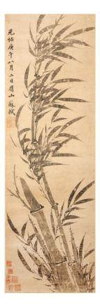 "SU SHI   (follower of, 1037 €"" 1101) Bamboo Stems ink on paper,"