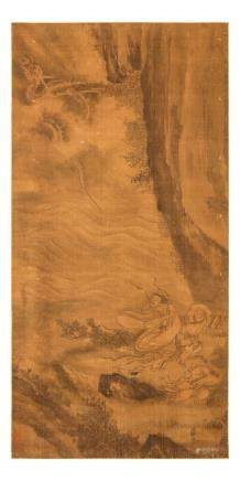 ANONYMOUS Figures with dragon ink on silk,