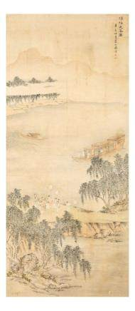 "YANG JIN   (follower of, 1644 €"" 1728) Boating Scene ink and colour on paper,"