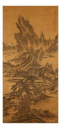 "WANG HUI   (follower of, 1632 €"" 1717) Landscape ink on silk,"