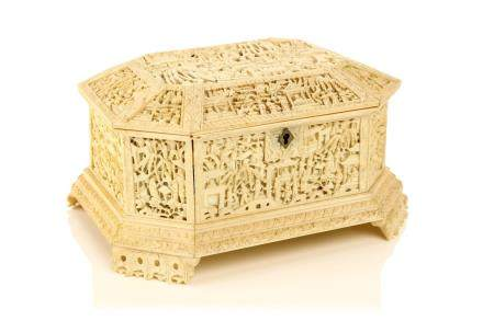 A CHINESE CANTON CARVED IVORY CHEST