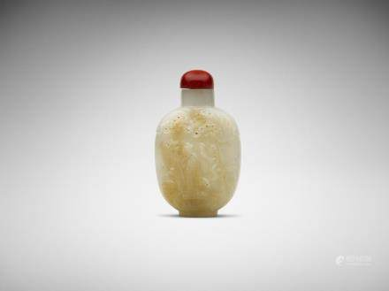 A Chinese carved white jade 'friend visiting' snuff bottle